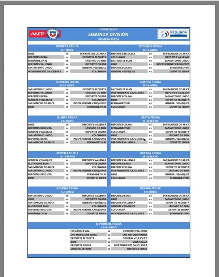 Fixture Segunda División